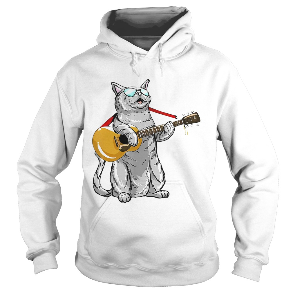 Cat play the guitar Hoodie