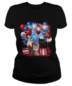 Cats Balloons Fireworks Independence Day 4th Of July  Classic Ladies