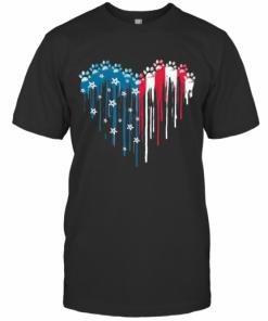 Paw Dog Paint American Flag T-Shirt Classic Men's T-shirt