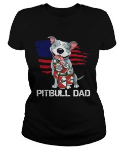 Pitbull Dad Beer American Flag  Classic Ladies