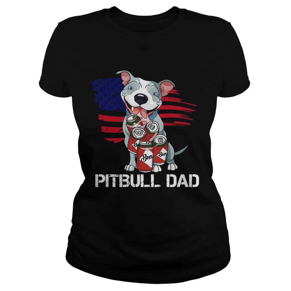 Pitbull Dad Beer American Flag Classic Ladies