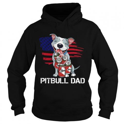 Pitbull Dad Beer American Flag  Hoodie