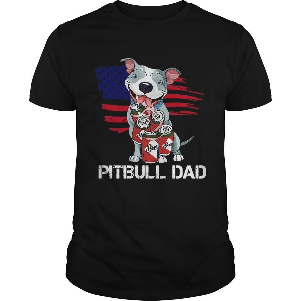 Pitbull Dad Beer American Flag Unisex