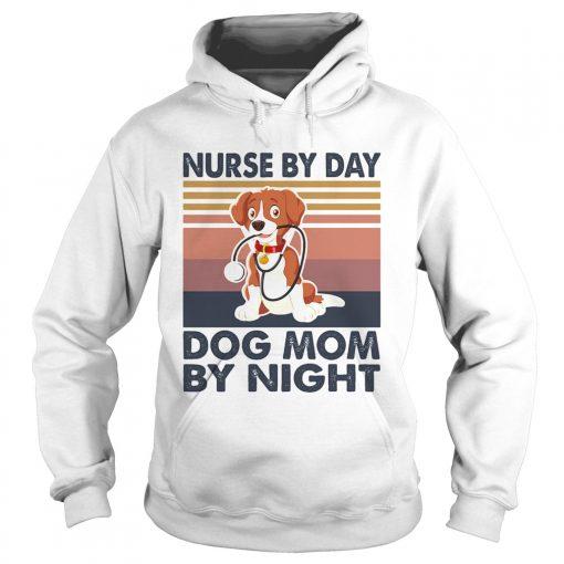 Stethoscope nurse by day dog mom by night vintage  Hoodie