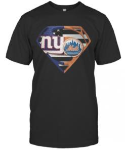 Superhero New York Giants Vs New York Mets Diamond American Flag T-Shirt Classic Men's T-shirt