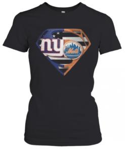 Superhero New York Giants Vs New York Mets Diamond American Flag T-Shirt Classic Women's T-shirt