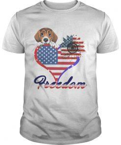 Beagle Dog Sunflower Heart American Flag Freedom  Unisex