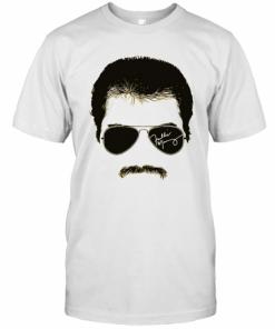 Freddie Mercury Face Signature Tee 1970S British Rock Band T-Shirt Classic Men's T-shirt