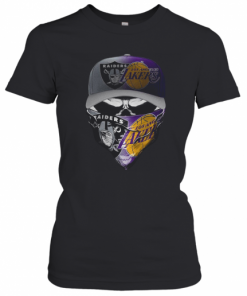 Skull Mask Oakland Raiders And Los Angeles Lakers T-Shirt Classic Women's T-shirt
