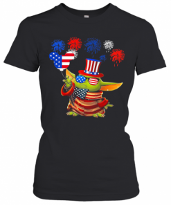 Star Wars Baby Yoda Holding Balloon Mickey Mouse Firework American Flag Independence Day T-Shirt Classic Women's T-shirt