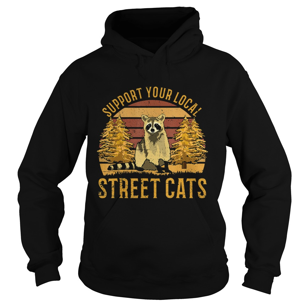 Support Your Local Street Cats Raccoon Sunset Hoodie