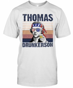 Thomas Drunkerson Drinking Beer American Flag Independence Day Vintage T-Shirt Classic Men's T-shirt