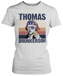 Thomas Drunkerson Drinking Beer American Flag Independence Day Vintage T-Shirt Classic Women's T-shirt