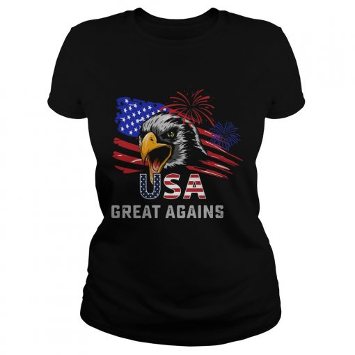 USA Great Again 4th Of July Bald Eagle American Flag  Classic Ladies