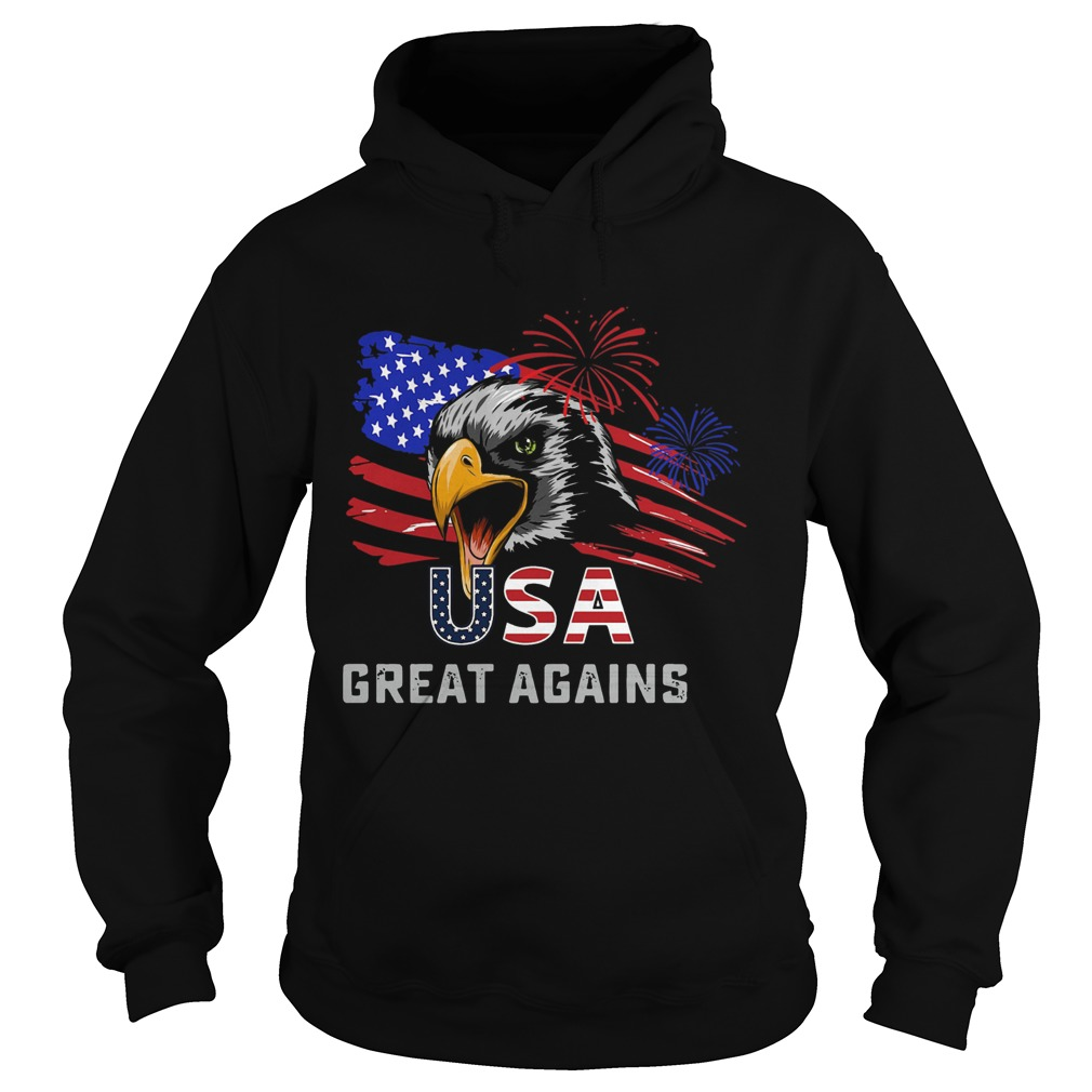 USA Great Again 4th Of July Bald Eagle American Flag Hoodie