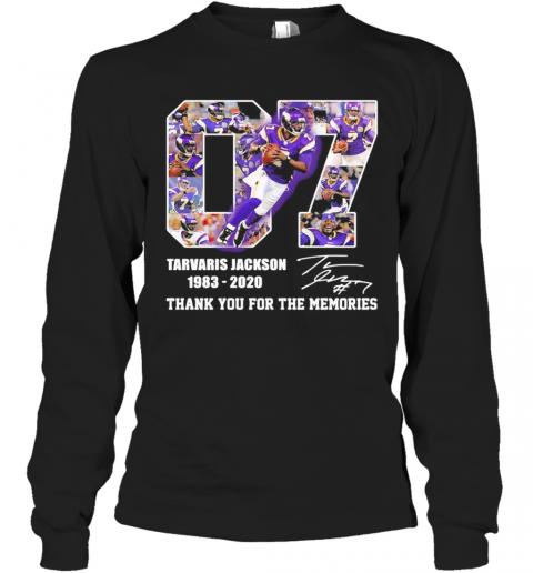 07 Tarvaris Jackson 1983 2020 Thank You For The Memories Signature T-Shirt Long Sleeved T-shirt