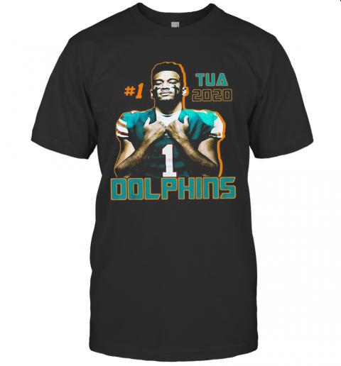1 Tua Tagovailoa 2020 Miami Dolphins Football T-Shirt Classic Men's T-shirt