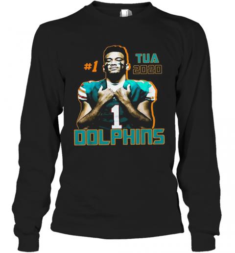 1 Tua Tagovailoa 2020 Miami Dolphins Football T-Shirt Long Sleeved T-shirt