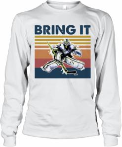Hockey Bring It Vintage Retro T-Shirt Long Sleeved T-shirt