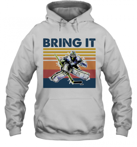 Hockey Bring It Vintage Retro T-Shirt Unisex Hoodie