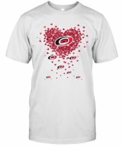 Love Carolina Hurricanes Hockey Logo Hearts T-Shirt Classic Men's T-shirt