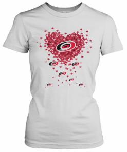 Love Carolina Hurricanes Hockey Logo Hearts T-Shirt Classic Women's T-shirt