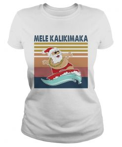 Santa Mele Kalikimaka Surfing Vintage Retro  Classic Ladies