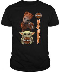 Baby Groot And Baby Yoda Hug Harley Davidson shirt