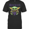 Baby Yoda Hug Colorado Rockies Logo T-Shirt Classic Men's T-shirt