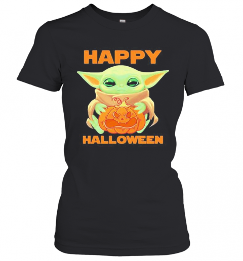 Baby Yoda Hug Pumpkin Happy Halloween T-Shirt Classic Women's T-shirt