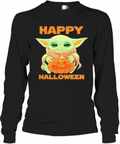 Baby Yoda Hug Pumpkin Happy Halloween T-Shirt Long Sleeved T-shirt