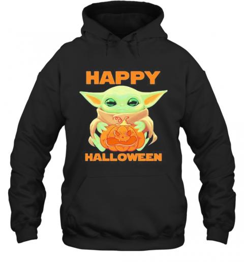 Baby Yoda Hug Pumpkin Happy Halloween T-Shirt Unisex Hoodie