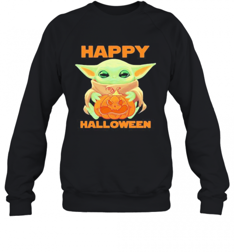 Baby Yoda Hug Pumpkin Happy Halloween T-Shirt Unisex Sweatshirt