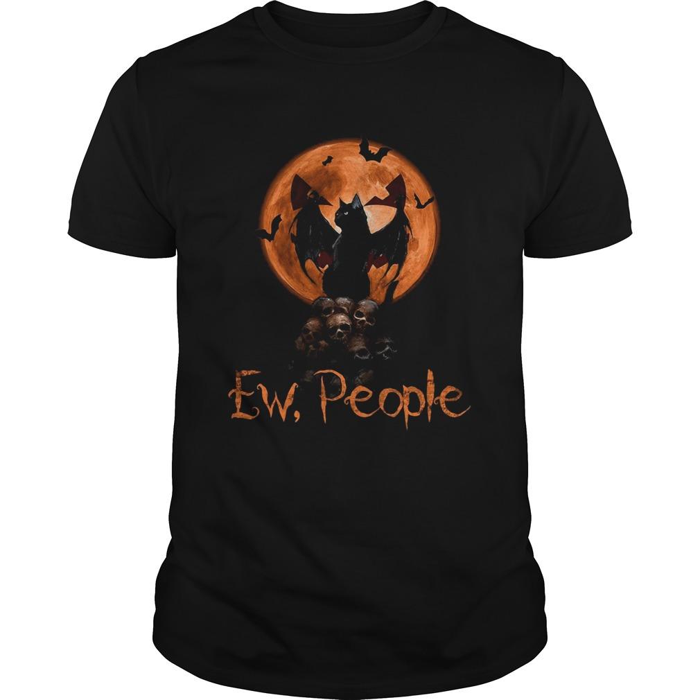Ew People Black Cat Bats Moon Skull Halloweenshirt Masswerks Store