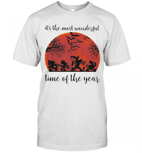 Halloween Mickey Mouse And Friends It's The Most Wonderful Time Of The Year Sunset T-Shirt Masswerks Store