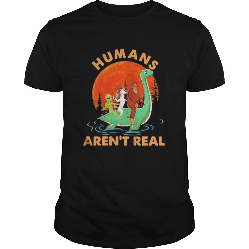 Halloween Humans Arent Real Alice Unicorn And Bigfoot Riding Dinosaur Shirt Masswerks Store