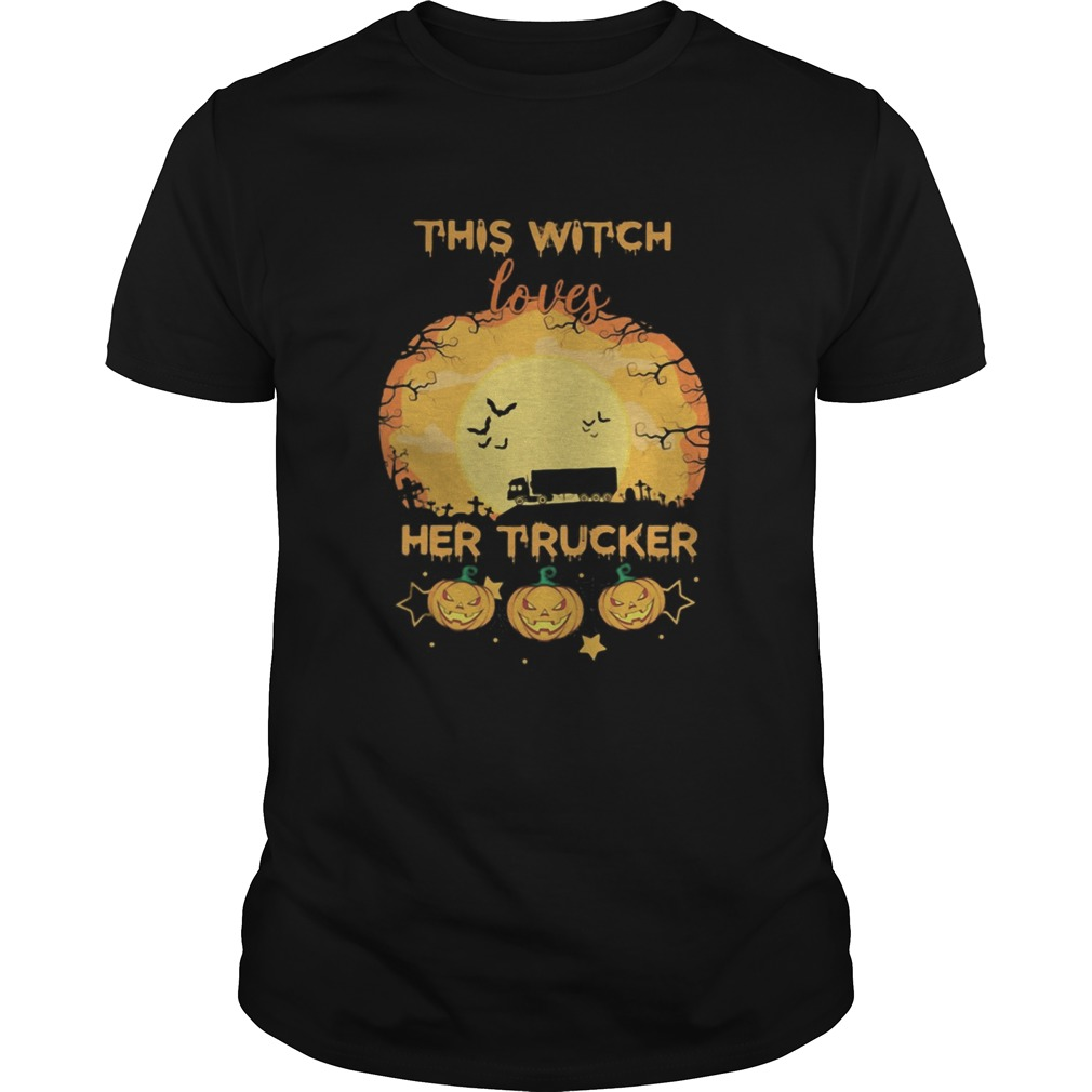 Halloween This Witch Loves Her Trucker Pumpkins Moon Shirt Masswerks Store