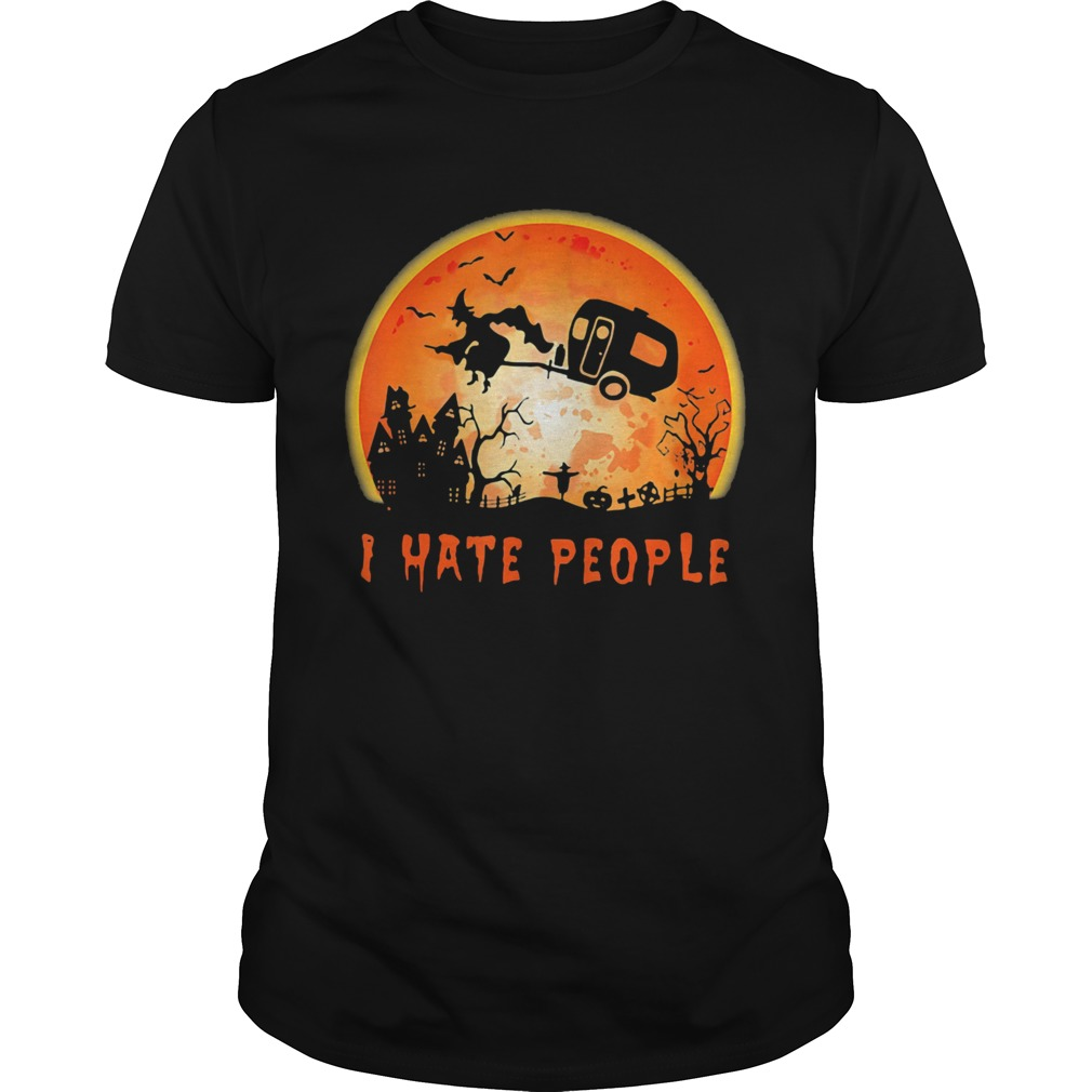 Halloween Witch I Hate People Moon Shirt Masswerks Store
