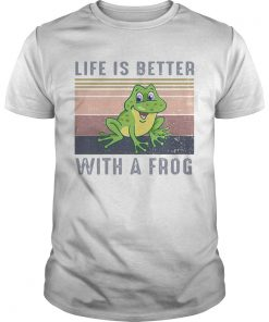 Life Is Better With A Frog Vintage Retro  Unisex