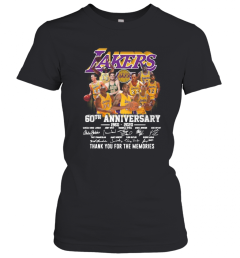Los Angeles Lakers 60Th Anniversary 1960 2020 Thank You For The Memories Signatures T-Shirt Classic Women's T-shirt