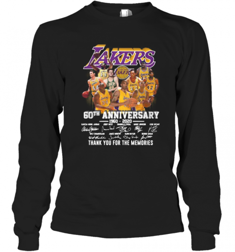 Los Angeles Lakers 60Th Anniversary 1960 2020 Thank You For The Memories Signatures T-Shirt Long Sleeved T-shirt