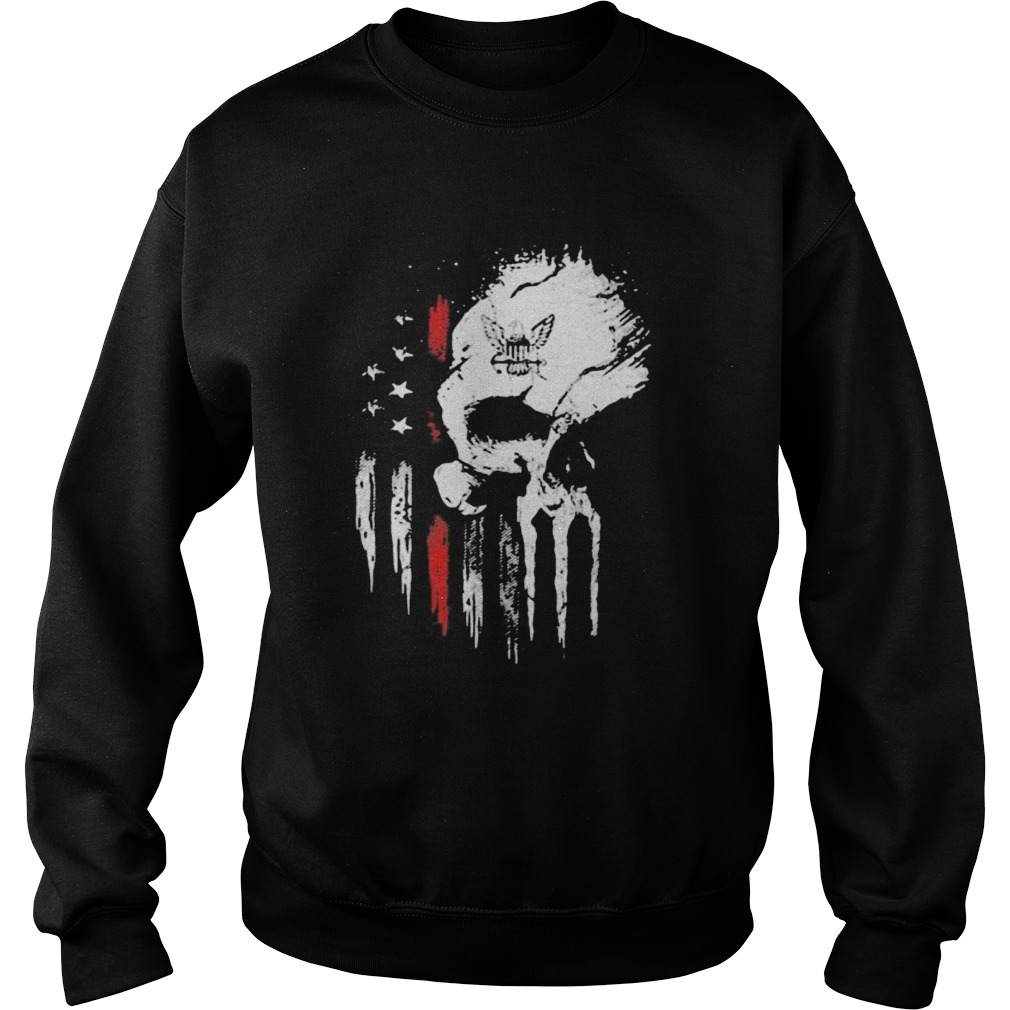 Red Navy Skull American Flag Independence Day  Sweatshirt