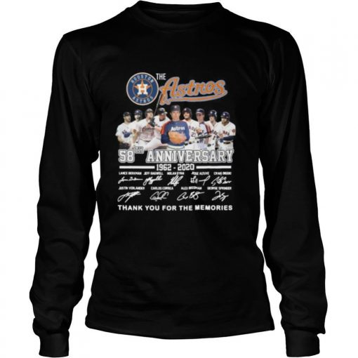 The houston astros 58th anniversary 1962 2020 thank you for the memories signatures shirt