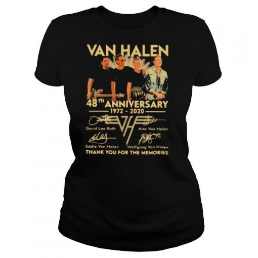 Van halen band 48th anniversary 1972 2020 thank you for the memories signatures shirt