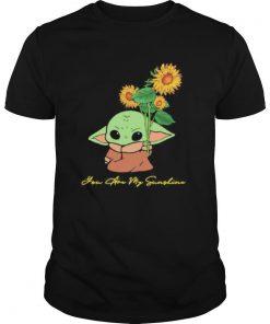 Baby yoda holding sunflower you are my sunshine shirt