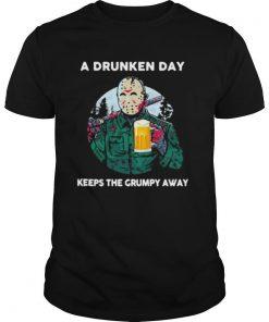 Halloween jason voorhees drink beer a drunken day keeps the grumpy away shirt