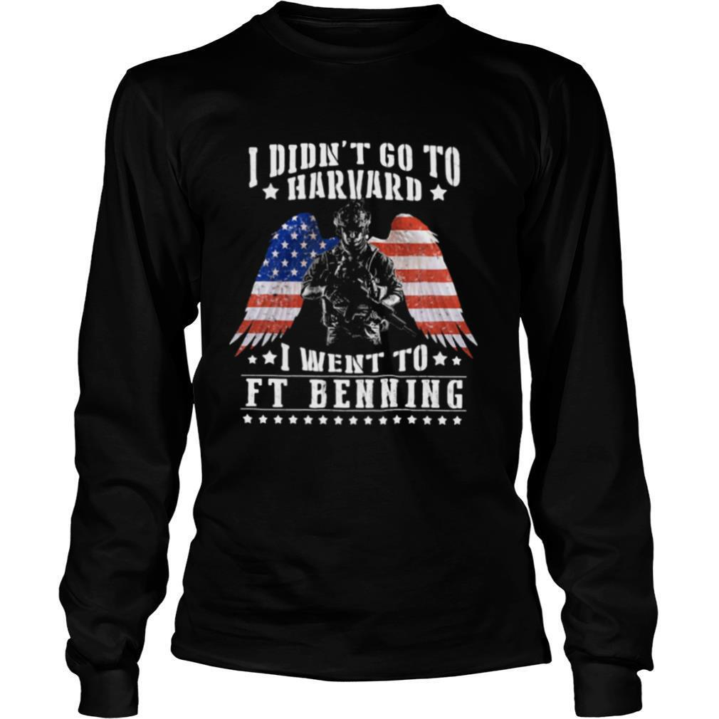 I Didn't Go To Harvard I Went To Ft Benning Angel Wings American Flag Independence Day shirt