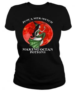 Mermaid Just A Mer Witch Making Ocean Potions Halloween shirt