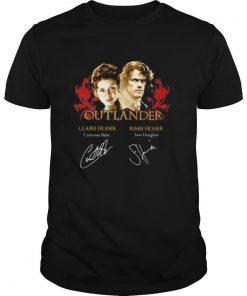 Outlander claire fraser caitriona note jamie fraser sam heughan signatures shirt