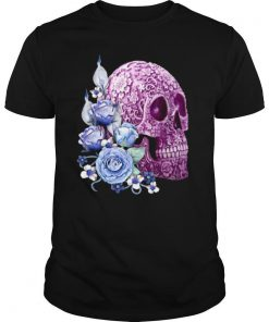 Skull Day Of The Dead Blue Flowers shirt